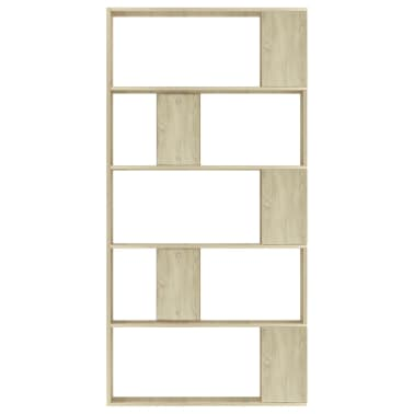 "vidaXL Book Cabinet/Room Divider Sonoma Oak 31.5""x9.4""x62.6"" Chipboard[5/7]"