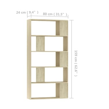 "vidaXL Book Cabinet/Room Divider Sonoma Oak 31.5""x9.4""x62.6"" Chipboard[7/7]"