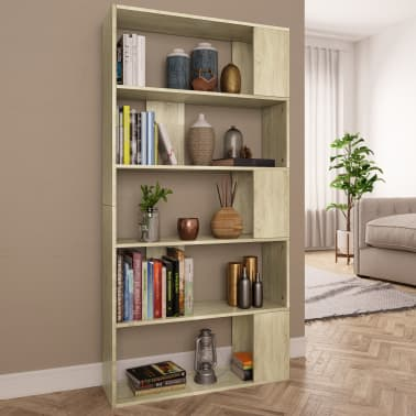"vidaXL Book Cabinet/Room Divider Sonoma Oak 31.5""x9.4""x62.6"" Chipboard[1/7]"
