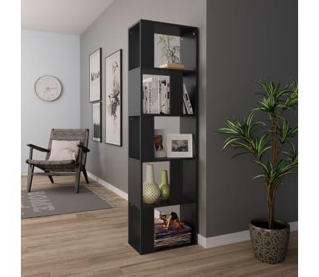 "vidaXL Book Cabinet/Room Divider Black 17.7""x9.4""x62.6"" Chipboard[4/7]"
