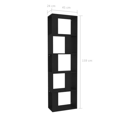 "vidaXL Book Cabinet/Room Divider Black 17.7""x9.4""x62.6"" Chipboard[7/7]"