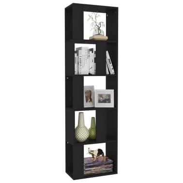 "vidaXL Book Cabinet/Room Divider Black 17.7""x9.4""x62.6"" Chipboard[3/7]"