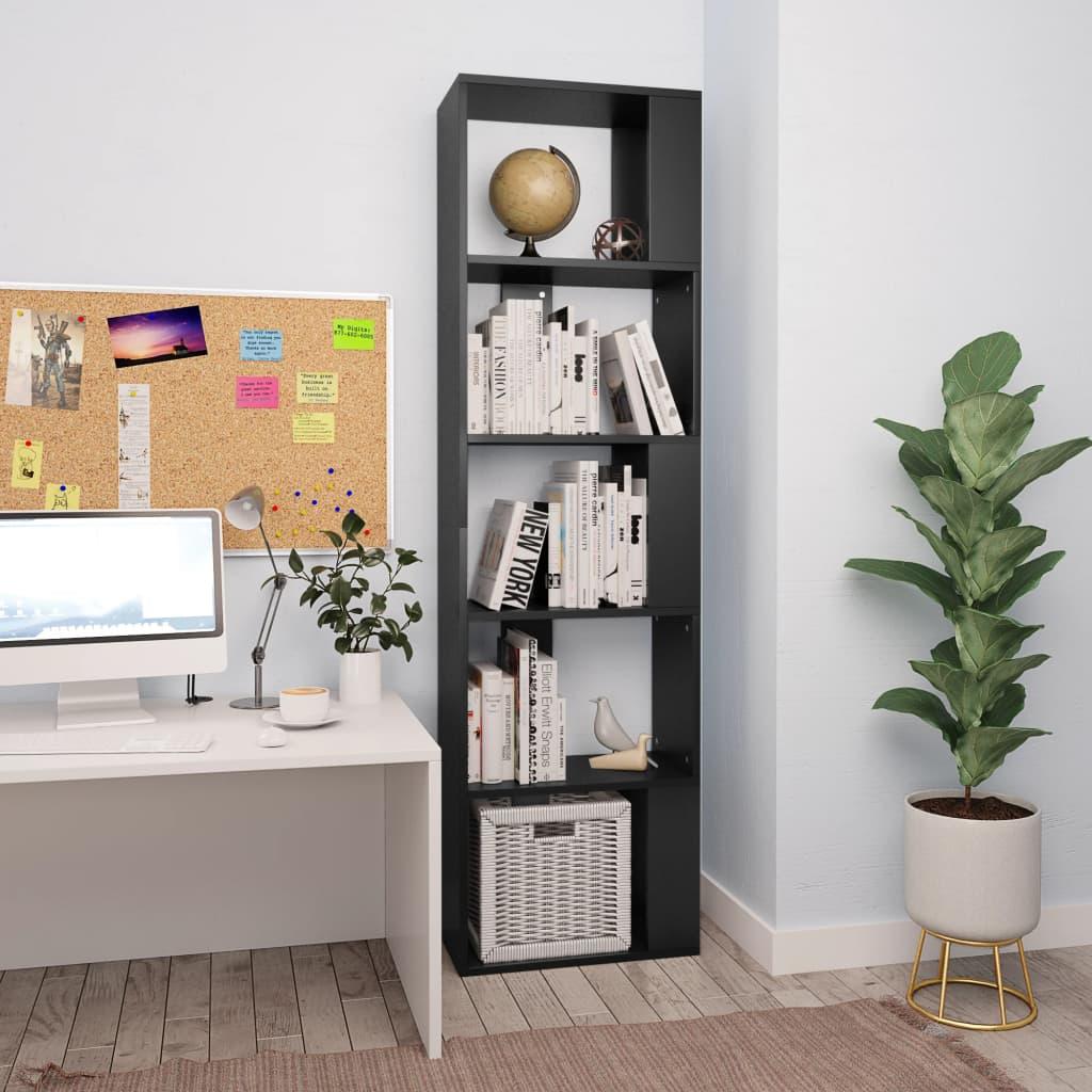 Knihovna/zástěna do pokoje černá 45 x 24 x 159 cm dřevotříska