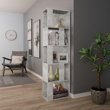 "vidaXL Book Cabinet/Room Divider Concrete Gray 17.7""x9.4""x62.6"" Chipboard[4/7]"