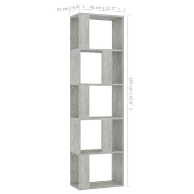 "vidaXL Book Cabinet/Room Divider Concrete Gray 17.7""x9.4""x62.6"" Chipboard[7/7]"