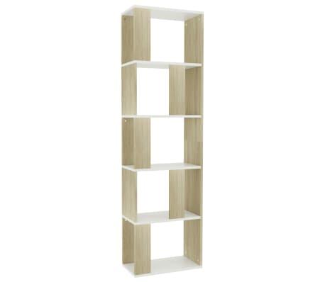 "vidaXL Book Cabinet/Room Divider White and Sonoma Oak 17.7""x9.4""x62.6"" Chipboard[2/7]"