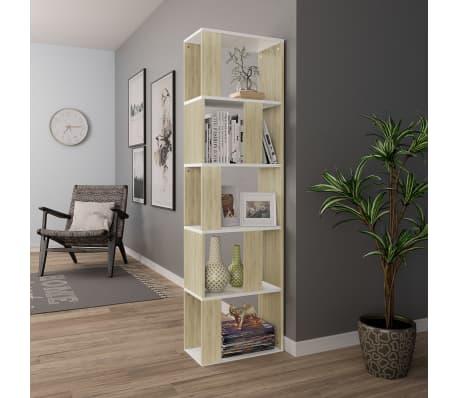 "vidaXL Book Cabinet/Room Divider White and Sonoma Oak 17.7""x9.4""x62.6"" Chipboard[4/7]"