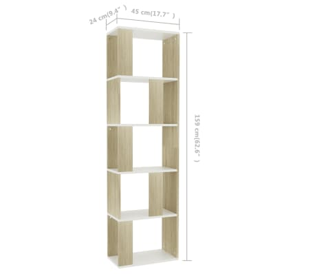 "vidaXL Book Cabinet/Room Divider White and Sonoma Oak 17.7""x9.4""x62.6"" Chipboard[7/7]"