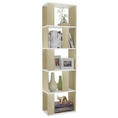 "vidaXL Book Cabinet/Room Divider White and Sonoma Oak 17.7""x9.4""x62.6"" Chipboard[3/7]"
