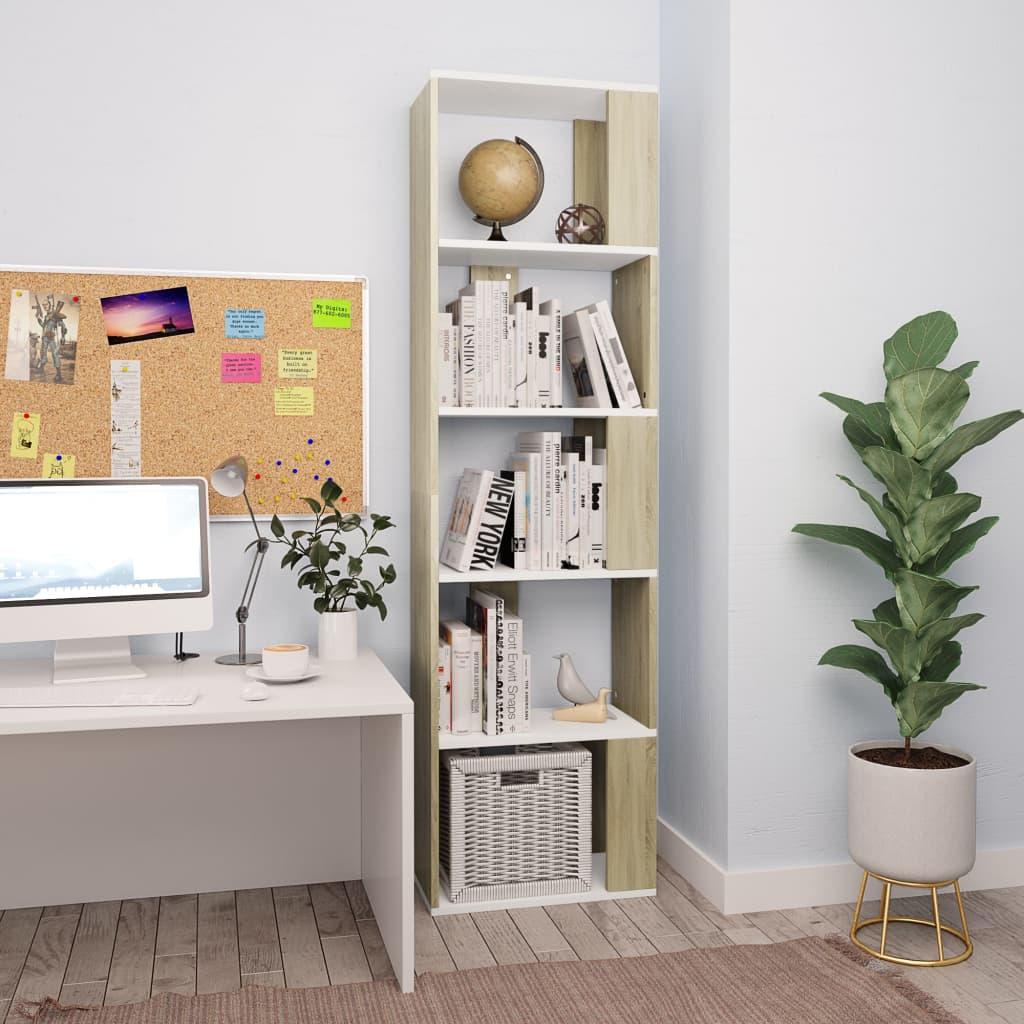 Knihovna/zástěna bílá a dub sonoma 45 x 24 x 159 cm dřevotříska