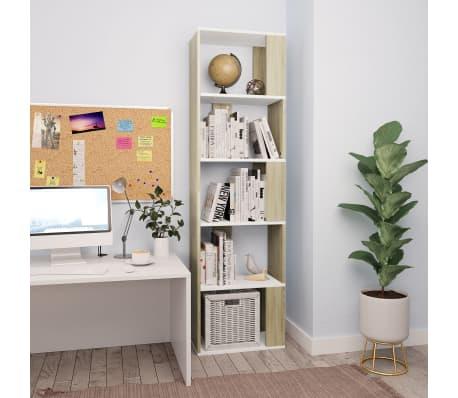 "vidaXL Book Cabinet/Room Divider White and Sonoma Oak 17.7""x9.4""x62.6"" Chipboard[1/7]"