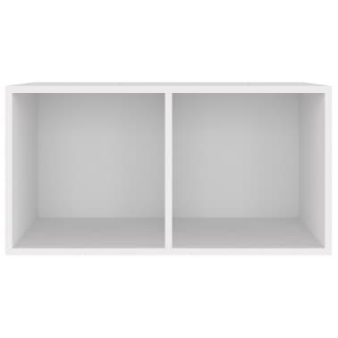 vidaXL Dėžė vinilinėms plokštelėms, baltos spalvos, 71x34x36cm, MDP[3/6]