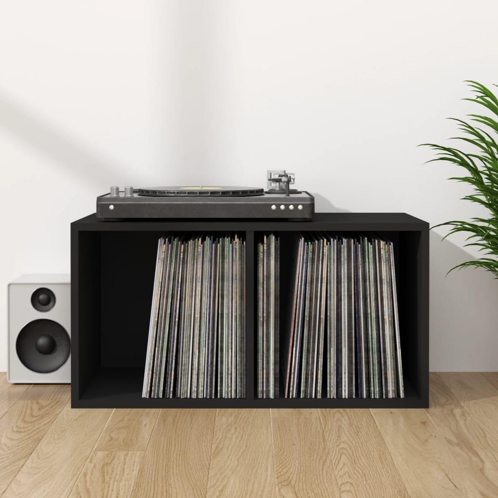 vidaXL Cutie de depozitare vinyl-uri, negru, 71 x 34 x 36 cm, PAL imagine vidaxl.ro