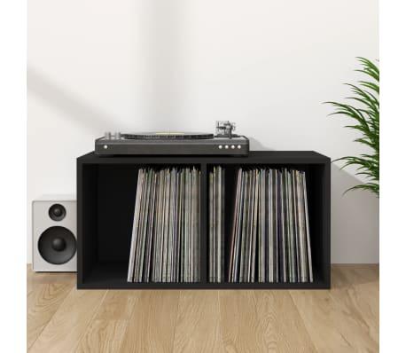 vidaXL Dėžė vinilinėms plokštelėms, juodos spalvos, 71x34x36cm, MDP[1/6]