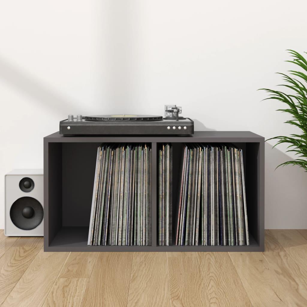 vidaXL Cutie de depozitare vinyl-uri, gri, 71 x 34 x 36 cm, PAL imagine vidaxl.ro