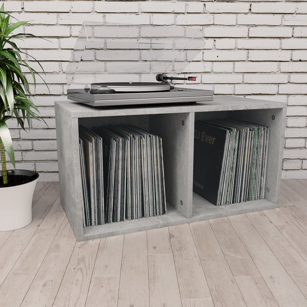 vidaXL Cutie de depozitare vinyl-uri, gri beton, 71 x 34 x 36 cm, PAL imagine vidaxl.ro