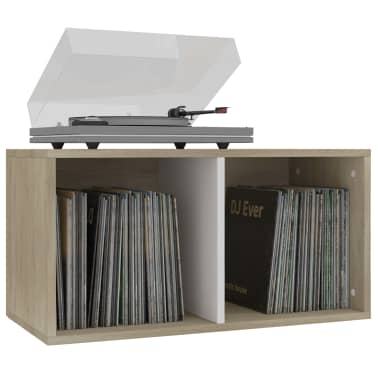 "vidaXL Vinyl Storage Box White and Sonoma Oak 28""x13.4""x14.2"" Chipboard[3/6]"