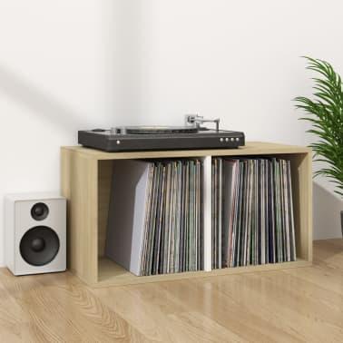 "vidaXL Vinyl Storage Box White and Sonoma Oak 28""x13.4""x14.2"" Chipboard[6/6]"