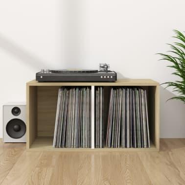 "vidaXL Vinyl Storage Box White and Sonoma Oak 28""x13.4""x14.2"" Chipboard[1/6]"