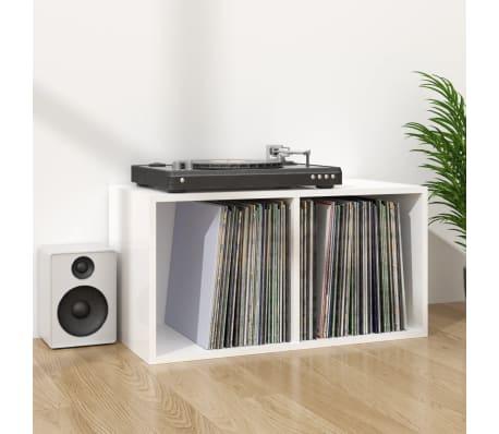 vidaXL Boîte de rangement de vinyles Blanc brillant 71x34x36 cm[6/6]