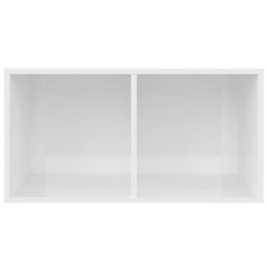 vidaXL Boîte de rangement de vinyles Blanc brillant 71x34x36 cm[3/6]