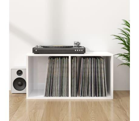 vidaXL Boîte de rangement de vinyles Blanc brillant 71x34x36 cm[1/6]