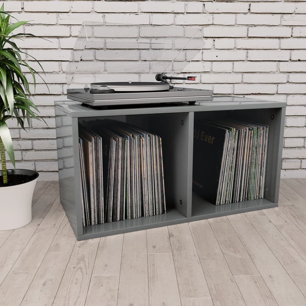 vidaXL Cutie de depozitare vinyl-uri, gri lucios, 71 x 34 x 36 cm, PAL imagine vidaxl.ro