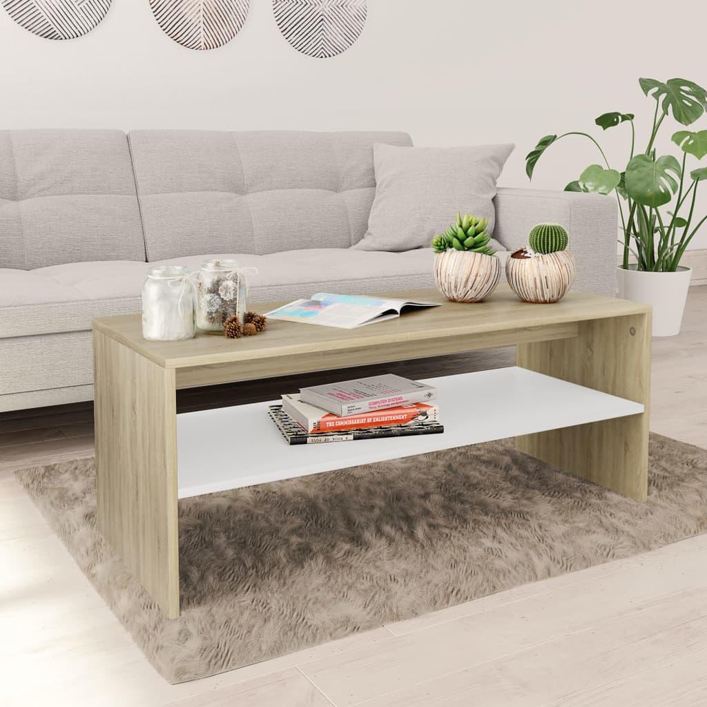 vidaXL Konferenční stolek bílý a dub sonoma 100x40x40 cm dřevotříska