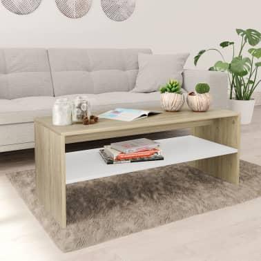 Vidaxl Table Basse Blanc Et Chene Sonoma 100 X 40 X 40 Cm