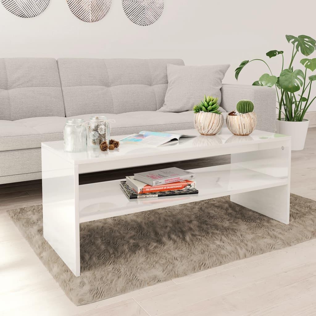 vidaXL Konferenční stolek bílý vysoký lesk 100x40x40 cm dřevotříska