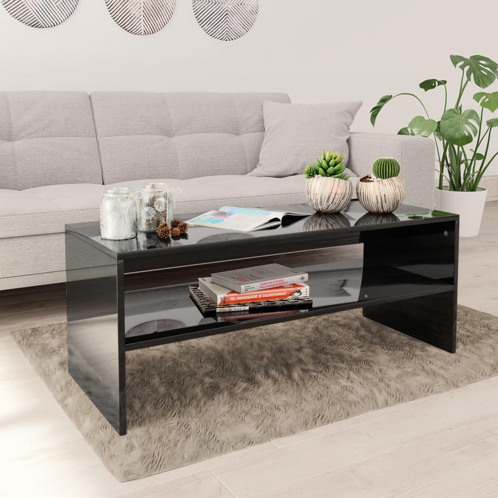 vidaXL Konferenční stolek černý vysoký lesk 100x40x40 cm dřevotříska