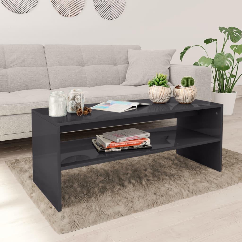 Konferenční stolek šedý vysoký lesk 100x40x40 cm dřevotříska