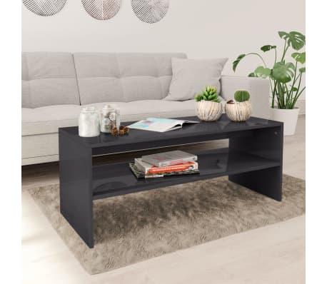 Vidaxl Coffee Table High Gloss Grey 100x40x40 Cm Chipboard
