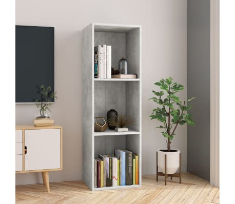 "vidaXL Book Cabinet/TV Cabinet Concrete Gray 14.2""x11.8""x44.9"" Chipboard[1/12]"