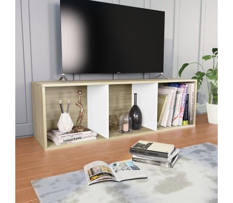 """vidaXL Book Cabinet/TV Cabinet White and Sonoma Oak 14.2""""x11.8""""x44.9""""[6/12]"""