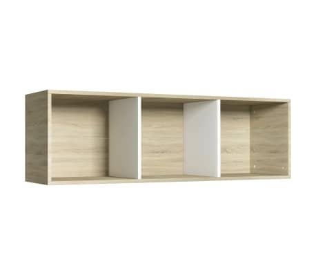 """vidaXL Book Cabinet/TV Cabinet White and Sonoma Oak 14.2""""x11.8""""x44.9""""[8/12]"""