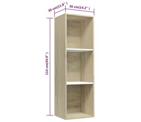 """vidaXL Book Cabinet/TV Cabinet White and Sonoma Oak 14.2""""x11.8""""x44.9""""[11/12]"""