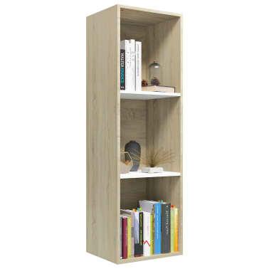 """vidaXL Book Cabinet/TV Cabinet White and Sonoma Oak 14.2""""x11.8""""x44.9""""[3/12]"""