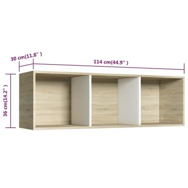 """vidaXL Book Cabinet/TV Cabinet White and Sonoma Oak 14.2""""x11.8""""x44.9""""[12/12]"""