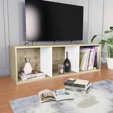 """vidaXL Book Cabinet/TV Cabinet White and Sonoma Oak 14.2""""x11.8""""x44.9""""[4/12]"""