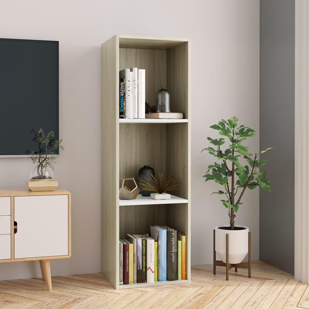 vidaXL Regał na książki/szafka TV, biały i dąb sonoma, 36x30x114 cm
