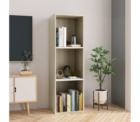 """vidaXL Book Cabinet/TV Cabinet White and Sonoma Oak 14.2""""x11.8""""x44.9""""[1/12]"""