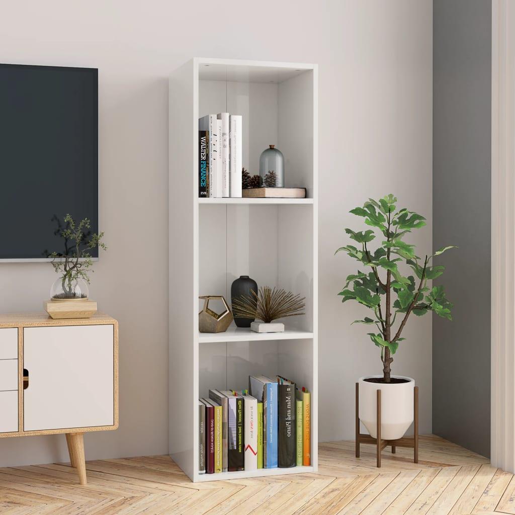 Knihovna / TV skříňka bílá vysoký lesk 36x30x114 cm dřevotříska