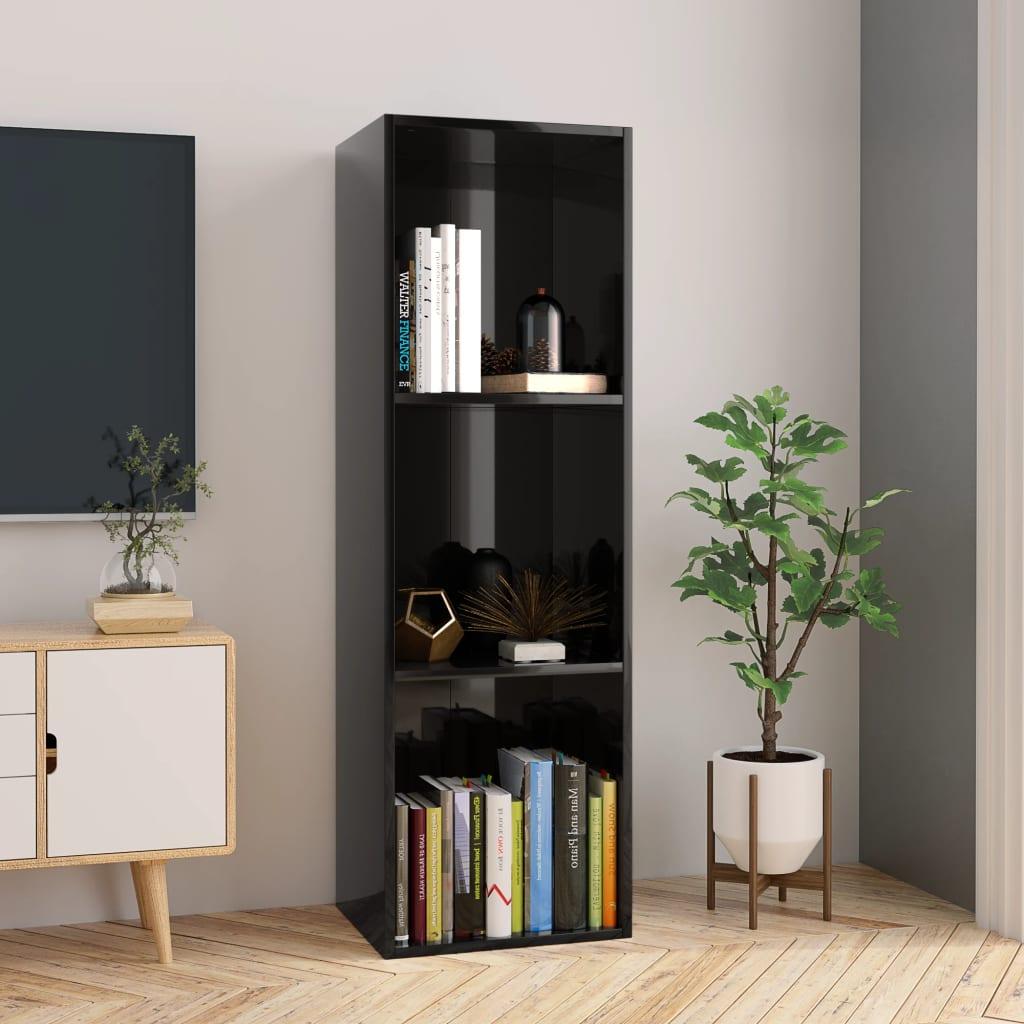 Knihovna/TV skříňka černá vysoký lesk 36x30x114 cm dřevotříska