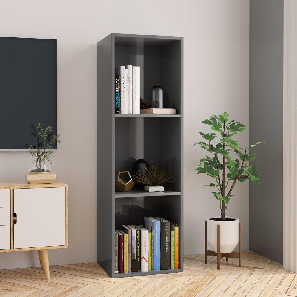 Knihovna / TV skříňka šedá vysoký lesk 36x30x114 cm dřevotříska