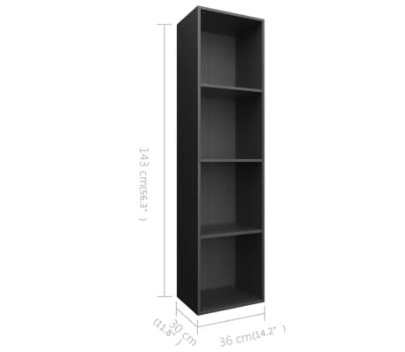 "vidaXL Book Cabinet/TV Cabinet Black 14.2""x11.8""x56.3"" Chipboard[11/12]"
