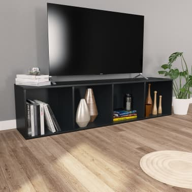 "vidaXL Book Cabinet/TV Cabinet Black 14.2""x11.8""x56.3"" Chipboard[4/12]"