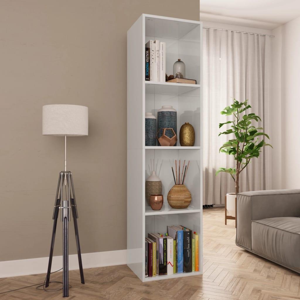 Meuble Tv Bibliothèque Blanc bibliothèque-meuble tv blanc brillant 36x30x143 cm aggloméré contemporain  salon
