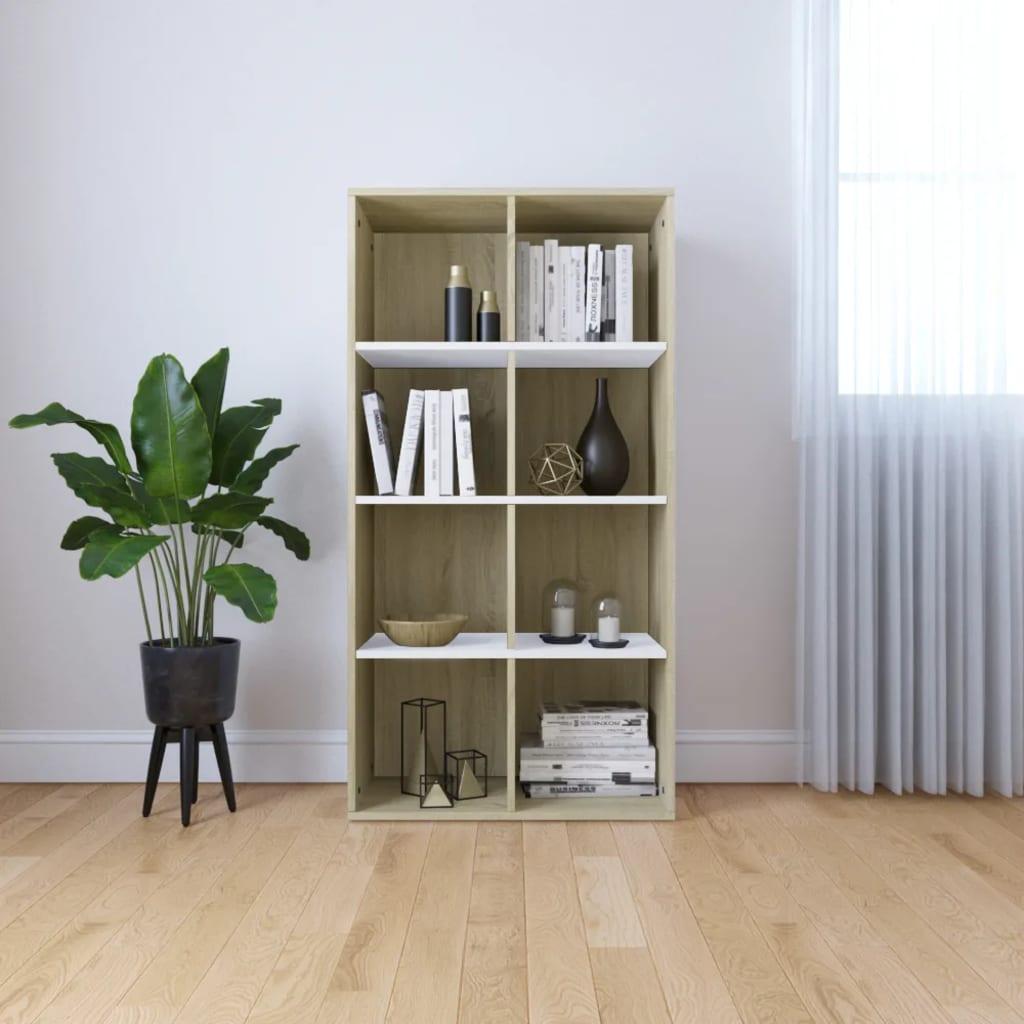 vidaXL Regał na książki/szafka, kolor biały i dąb sonoma, 66x30x130 cm