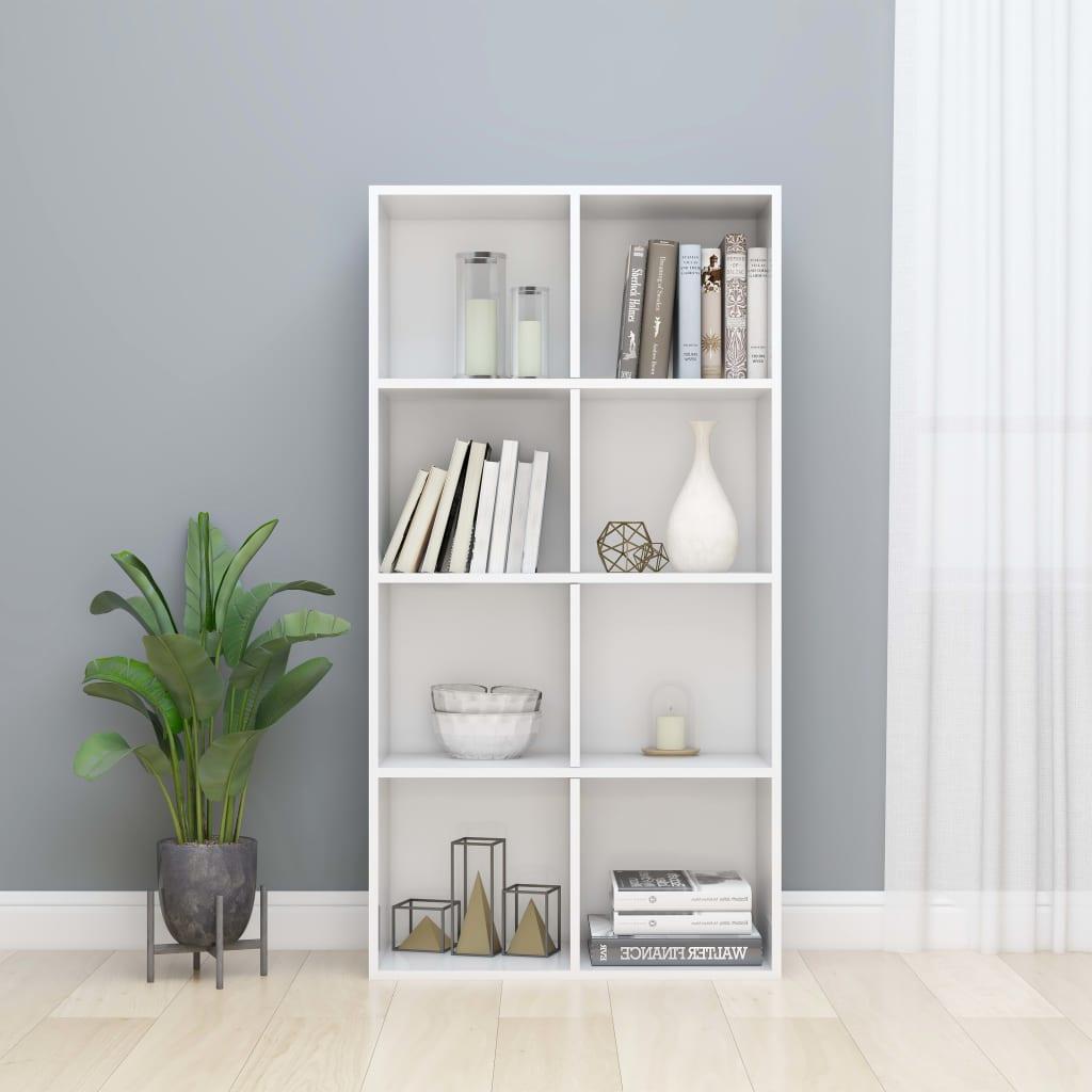vidaXL Regał na książki/szafka, wysoki połysk, biały, 66x30x130 cm